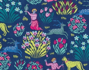 Amy Butler Splendor Forest Friends Midnight PWAB165 100% Quilters Cotton - You choose the Length