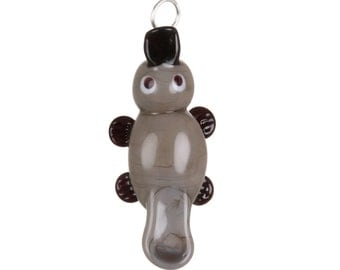 Glass Platypus Pendant Necklace on Leather