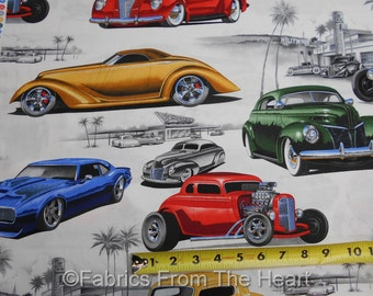 Chopped and Channeled Hot Rod Classic Cars White BY YARDS Alexander Henry Fabric