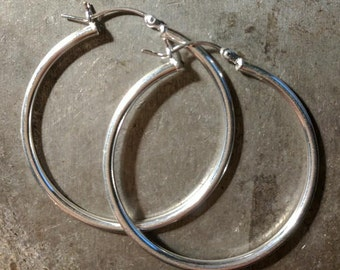 35mm Sterling Silver Tube Hoop Earrings