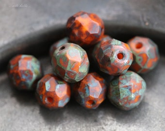 BURNT UMBER .. 10 Premium Picasso Glass Czech Bead 8mm (5572-10)