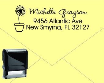 Self Inking Return Address Stamp * Custom Address Rubber Stamp (E119) Flower Pot Sunflower