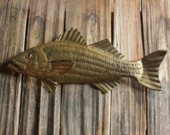 Striped Bass - trophy-sized brass metal striper saltwater game fish sculpture - wall hanging - with naturally-aged patina - OOAK