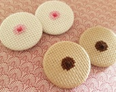 The Breast Pin - Cross Stitch Pinback Badge  Handmade Boob Bosom Free the Nipple Gag Gift Fun