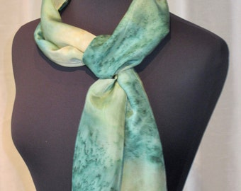 Key Lime Luscious Hand Painted Silk Scarf, One of a Kind, Designer Original Made in USA