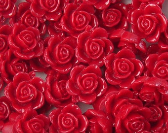 Cabochon Flower 14 Resin Round Rose Flower Opaque 15mm Red (1013cab15m6-4)