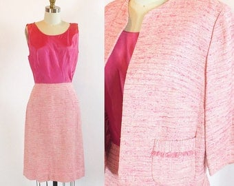 "Vintage 1950s R & K Pink Dress | With Jacket | 26"" Waist Small"