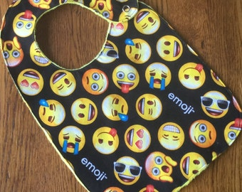 NEW...Emoji Minky Baby/Toddler Bib