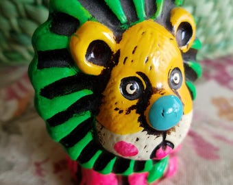 Vintage Holiday Fair Piggy Bank, Lion Coin Bank,Colorful, Plaster, Made in Japan, Piggy Bank, 1970s, Mod, Very Small