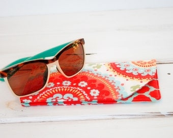 Fruity Pop Red and Blue Sunglass Case|Glass Sleeve|Monogrammed Cases for Oversized glasses|Funky Sunglass case|Polka Dots|Sunglass sleeves