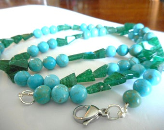 Natural Pines Lake ... turquoise magnesite, natural aventurine, necklace ... #768