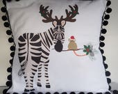 15% OFF SALE - DIY Pillow Panel - Holiday Zebra