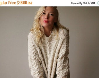 25% OFF SALE 1980s Fishermans Cable Knit Sweater~Size Small to Extra Large