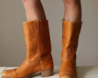 SPRING SALE 1970s Caramel Biker Boots >> Size 11 to 11-1/2 (11.5)