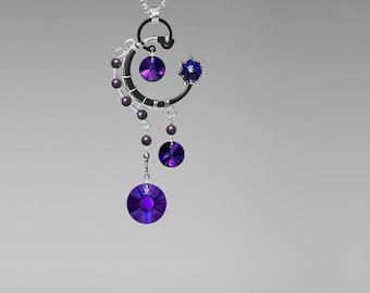 Purple Swarovski Crystal Necklace, Purple Swarovski Pearls, Swarovski Jewelry, WIre Wrapped, Statement Pendant, Capella v4