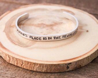 Cuff Bracelet - Boho Bracelet - Stamped Aluminum Bracelet - A womans place is in the revolution- stamped bracelet