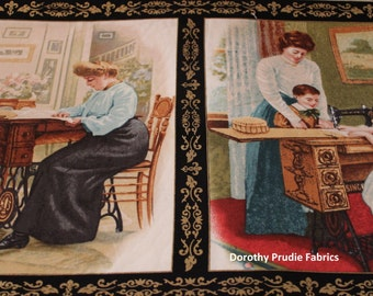 Clearance FABRIC SINGER SEWING Machines Antique Advertising Art images on fabric blocks