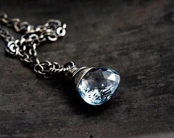 Gemstone Necklace, Topaz Necklace, Blue Topaz, Topaz Pendant, December birthstone, birthstone jewelry, topaz jewelry, polestar