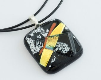 Black Pendant / Fused Glass Necklace / Fused Glass Pendant / Statement Jewelry / Fused Glass Jewelry / Gift For Her / Gift Ideas /