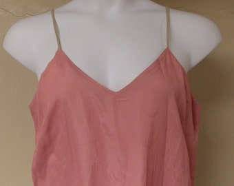 Vintage dusty pink rose full slip, non adjust dark beige straps, taffeta finish