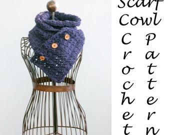 Versatile Scarf Crochet Pattern, Buttoned Scarf Neck Warmer Cowl Pattern, Instant Download, Scarf PDF Pattern, Chunky Scarf Pattern