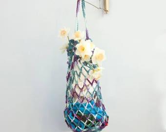 Sale, Net Bag, Grocery Tote, Cotton Beach Bag, Summer Tote, Market Tote Bag, Multi Aqua, Purple,  Ready to Ship