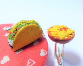 Taco and Chips Mexican Food Cufflinks - Mini Food Art Jewelry Collectable by Schickie Mickie