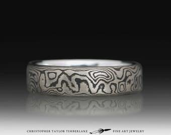 Mokume Gane 14K Palladium White Gold and Sterling Silver Blackened Ring