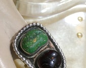 Navajo Sterling Turquoise and Agate Ring Size Size 4