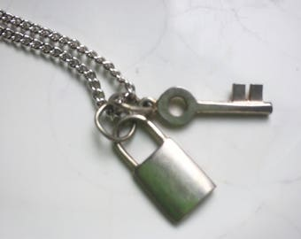 Miniature Key and Lock Necklace