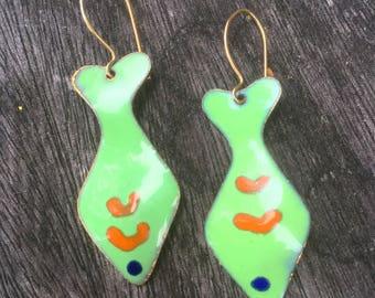 60s HandPainted Enamel Fish Earrings