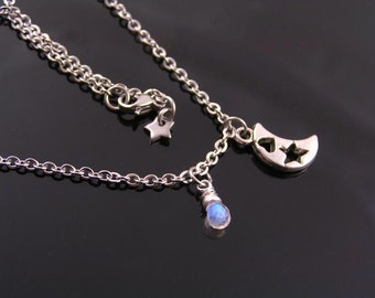 Crescent Moon Necklace with Rainbow Moonstone, Moon Necklace, Moon Jewelry, Moon Charm Necklace, Moonstone Necklace, Moon Star Necklace