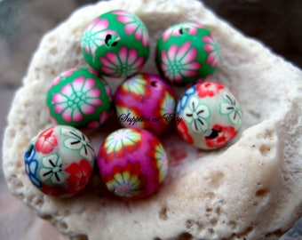 Sale orange green RED cobalt boho pink white Floral Polymer Clay Beads Round  beads 10mm-Fancy handmade Floral beads- white oink blue colors