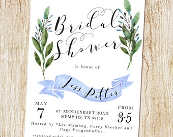 Bridal Shower invitation - Wedding Shower invitation - Baby Shower invitation - digital file or PRINTED cards - bridesmaids luncheon brunch