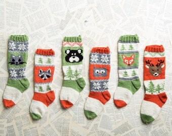 Forest Friends Stockings, Christmas Stocking, Christmas Stocking Patterns, Christmas Stocking Design, Family Stockings, Christmas Knitting,