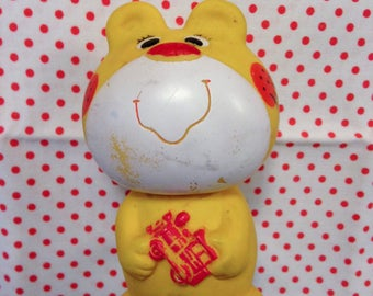 Vintage Japan IWAI Rare Yellow Bear Squeeze Toy Baby Big Eyed Doll