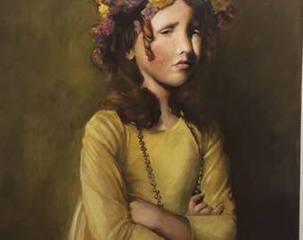 """Original Oil Painting, Girl in Yellow, Realist, 20"""" x 24"""""""
