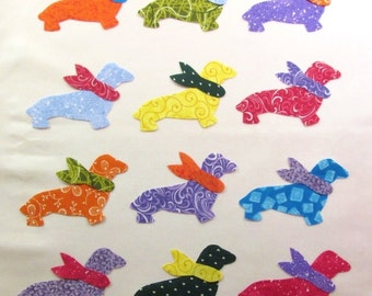 Set of 12 Bright Weenie Doxie Dog Iron-on Fabric Appliques for Quilts & Clothing