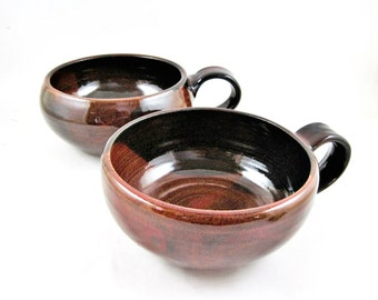 Soup Bowls, Set of 2 Bowls with Handle, Handmade Pottery Bowls in brown red - In stock