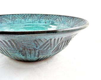 Handmade large Teal Blue pottery serving bowl, Blue decorative Ceramic bowl - In stock 96 SB