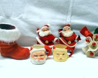 1950s christmas decorations Vintage Santa Collection - Old 1960s Decoration - Felt Santa Ornament, Red Candy Cane Boot, Santa Miniature Mug