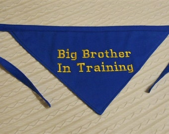 Big BROTHER In Training Dog Bandana in MEDIUM Tie Style Ready to Ship