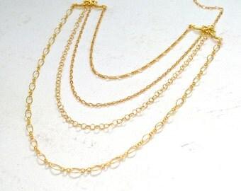 aphrodite necklace - gold statement necklace, multi chain bib necklace, elegant chain necklace, classy layered multi chain necklace