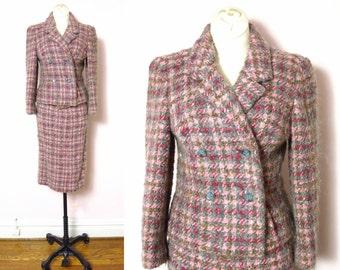 1960s Paul Blumenstein Pink & Gray Woven 2pc Suit XS