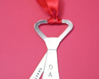 Personalized Tie Christmas Tree Ornament - Custom Neck Tie Ornament Xmas Gift - Aluminum Hand Stamped Holiday - Gift for Dad 2016