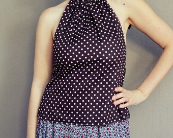 Chocolate Polka Dot Halter Top, Women's Halter Neck Style, Brown and Cream Dots, Cotton Summer Top, Made in Australia