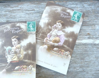 Vintage 1900s a set of 2 recolored French postcards  recolored boy  with Eastern eggs