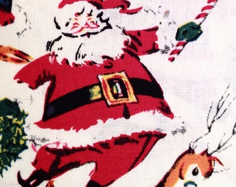 Christmas Santa & Candy Canes Vintage-style Cotton Fabric