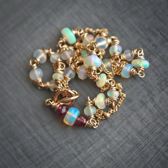 Ethiopian Opal and Garnet Wire Wrapped Gold Filled Bracelet