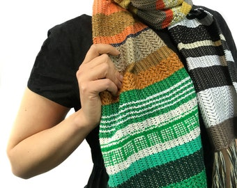Heidi   pidge pidge Woven Vegan Scarf   Spring Handwoven Heirloom Textile   Vibrant Luxe Gifts for Her   Striped Statement Accessory   H87